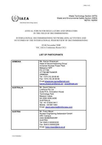 List of meeting participants - IAEA