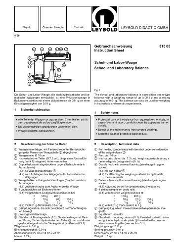 LEYBOLD DIDACTIC GMBH Gebrauchsanweisung 315 05  ...