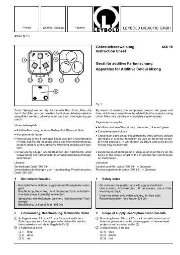 LEYBOLD DIDACTIC GMBH Gebrauchsanweisung 466 16 ...