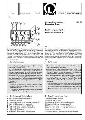 LEYBOLD DIDACTIC GMBH Gebrauchsanweisung 522 56 ...