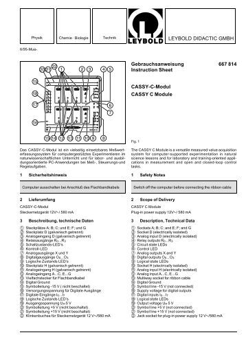 LEYBOLD DIDACTIC GMBH Gebrauchsanweisung 667 814 ...