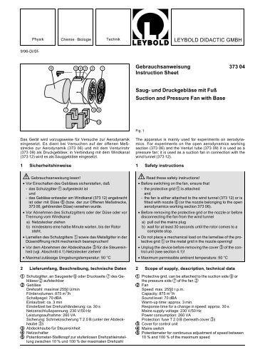LEYBOLD DIDACTIC GMBH Gebrauchsanweisung 373 04 ...