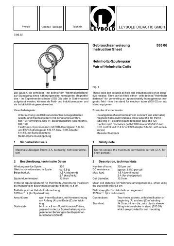 LEYBOLD DIDACTIC GMBH Gebrauchsanweisung 555 06 ...
