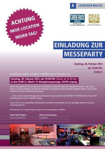 EINLADUNG ZUR MESSEPARTY - Leipziger Buchmesse