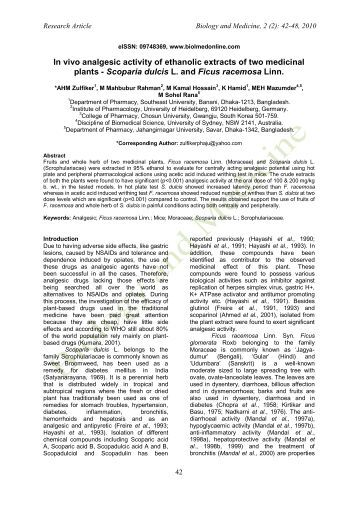 study of in vivo analgesic activity in animals In vitro and in vivo characterization of the new analgesic combination beta-caryophyllene and docosahexaenoic acid  in vivo study the animals showed no sign of.