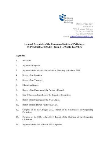 Office of the ESP General Assembly of the European Society of ...
