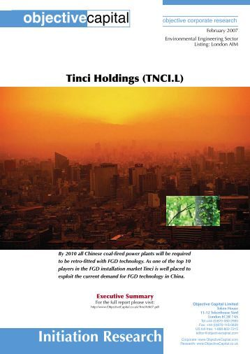 Objective Capital Research Report_Summary - Tinci Holdings Limited