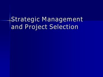 Strategic management and project selection - QUEcera