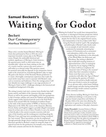 an analysis of the mood in samuel becketts play waiting for godot Based on the play waiting for godot by samuel beckett summary: two men, vladimir and estragon, meet near a tree they converse on various topics and revea.