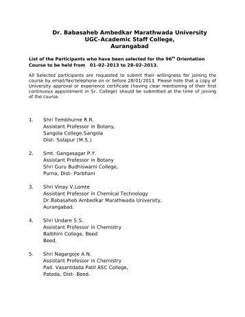 Dr. Babasaheb Ambedkar Marathwada University UGC-Academic ...