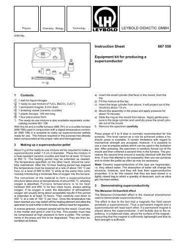 LEYBOLD DIDACTIC GMBH Instruction Sheet 667 550 Equipment ...