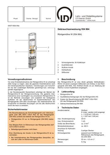 Gebrauchsanweisung 554 864 - LD DIDACTIC