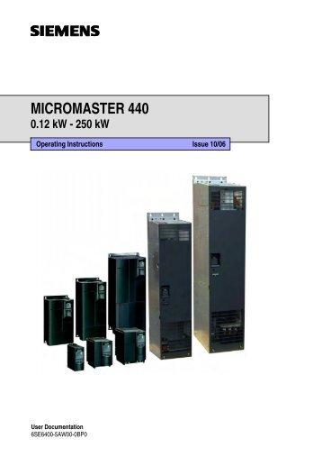 Siemens Micromaster 440 Manual - Inverter Drive Supermarket