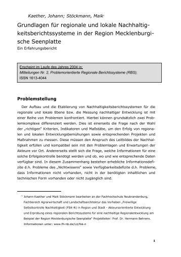 Grundlagen für regionale und lokale Nachhaltig ... - user.hs-nb.de