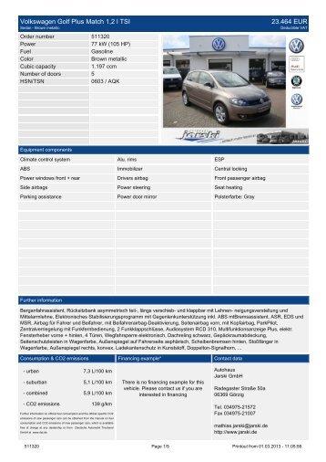 Volkswagen Golf V Variant 1.9 TDI DPF Trendline ... - Autohaus Jarski