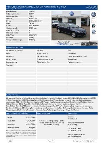 Volkswagen Passat Variant 2.0 TDI Sportline 6 ... - Autohaus Jarski