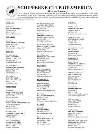 Breeders Directory - Schipperke Club of America