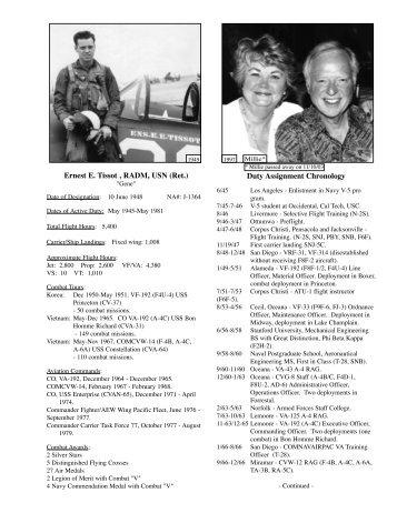 Ernest E. Tissot , RADM, USN (Ret.) Duty Assignment Chronology