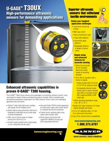 U-GAGE T30UX Ultrasonic Sensors Flyer - Banner Engineering