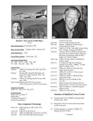 David G. Vest, LtCol, USMC(Ret.) Duty Assignment Chronology ...