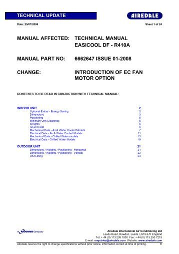MANUAL AFFECTED: TECHNICAL MANUAL EASICOOL DF ...