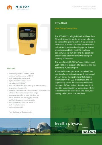 Download RDS-40WE Datasheet - Mirion  Technologies