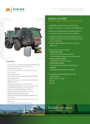 Download RADIAC Vehicle Datasheet - Mirion  Technologies