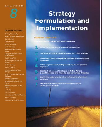 chapter 8: strategy formulation and implementation