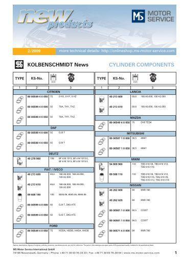 KOLBENSCHMIDT News CYLINDER COMPONENTS - MS Motor ...