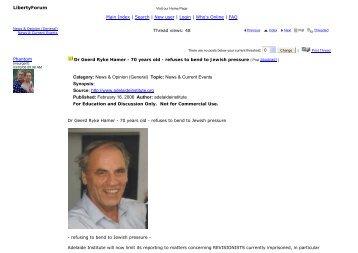 Dr Geerd Ryke Hamer - 70 years old - refuses to bend to Jewis...
