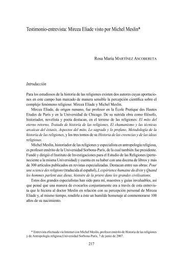 Testimonio-entrevista: Mircea Eliade visto por Michel Meslin*
