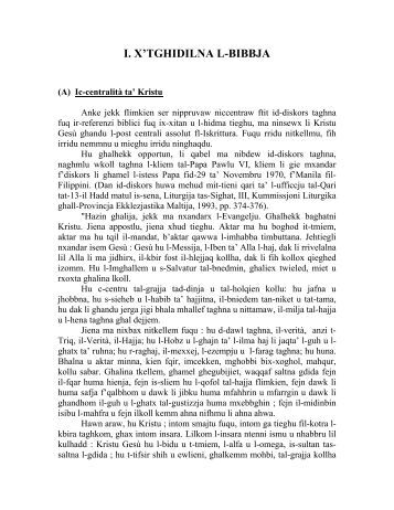 I. X'TGHIDILNA L-BIBBJA