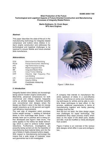 Blisk Production of the Future - MTU Aero Engines