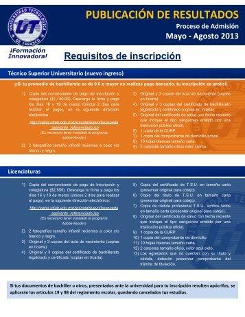 PUBLICACIÓN DE RESULTADOS