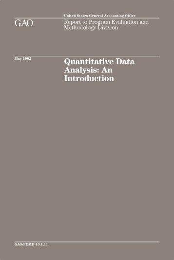 Quantitative Data Analysis - US Government Accountability Office