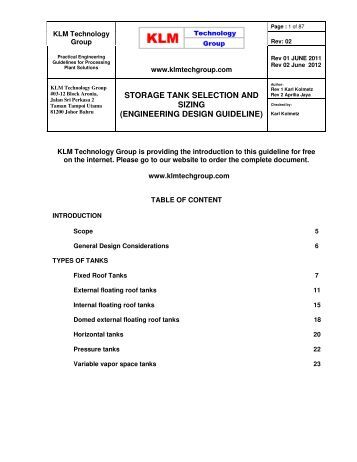 Engineering Design Guideline Storage Tank