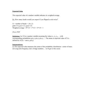 expected value of discrete random variable pdf
