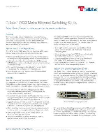 Tellabs 7300 Metro Ethernet Switching Series