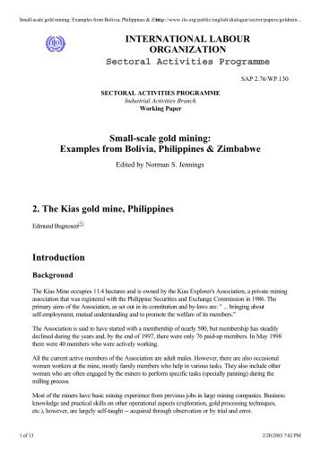 Small-scale gold mining: Examples from Bolivia, Philippines ...