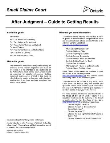 after judgment guide to getting results
