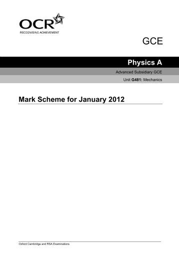 Ocr coursework mark scheme