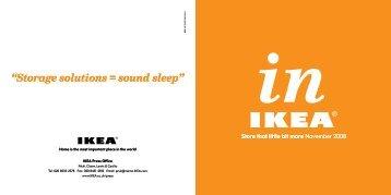 """Storage solutions = sound sleep"" - Ikea"