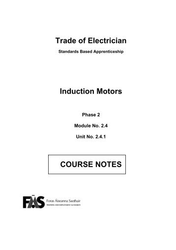 Trade of Electrician Induction Motors COURSE NOTES - eCollege