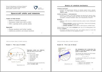 Spacecraft orbits and missions - faculty.jacobs-university.de
