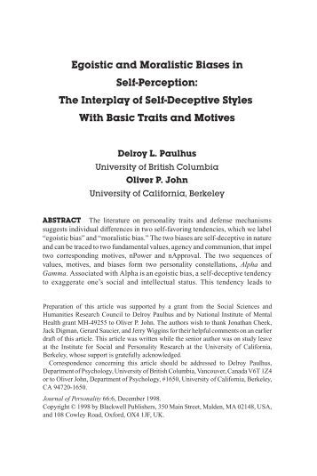 Egoistic and Moralistic Biases in Self-Perception - University of ...