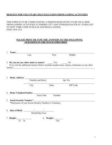 California casino self exclusion form