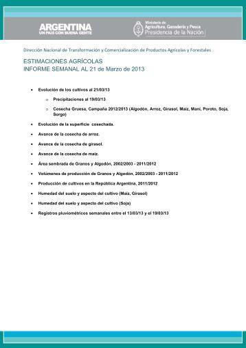 ESTIMACIONES AGRÍCOLAS INFORME SEMANAL AL 21 de Marzo de 2013