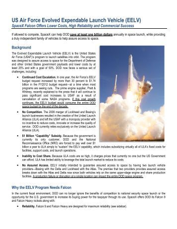 US Air Force Evolved Expendable Launch Vehicle (EELV) - SpaceX