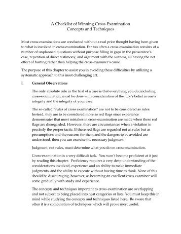 cross examination techniques Cross-examination strategies, by walter simpson, excerpted from pattern cross-examinations.