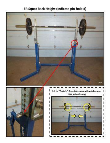ER Squat Rack Height (indicate pin-hole #) - USA Powerlifting